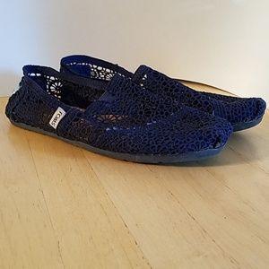 Navy Blue Crochet Toms